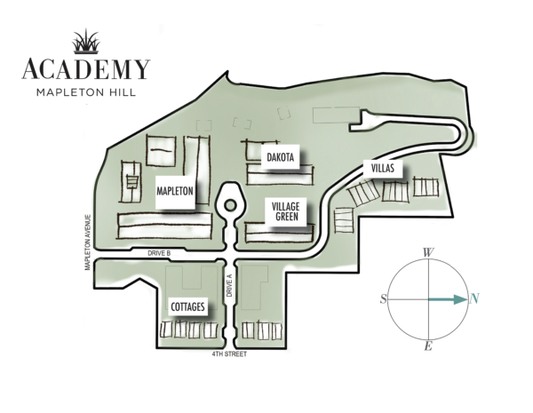 Academy Mapleton Hill Siteplan showing Building names